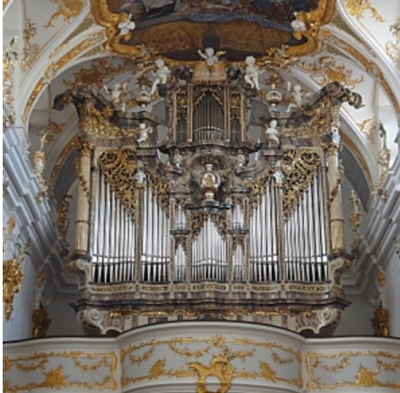 The majestic detail of the pipes of an organ.