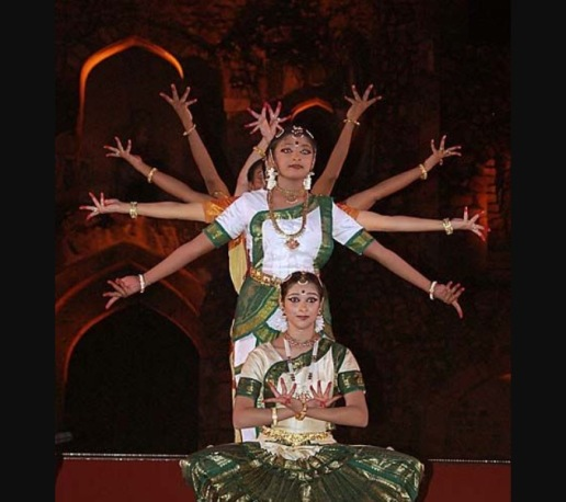 Dances imitating the hindu deities, while performing various mudras.